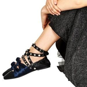 Women Black Zara Ankle Strap Flats on Poshmark